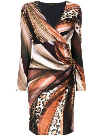 dress wrap dress women spandex print brown leopard print