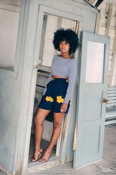 shorts high waisted High waisted shorts navy navy shorts flowers sunflower shorts sunflower day time dress cute shorts