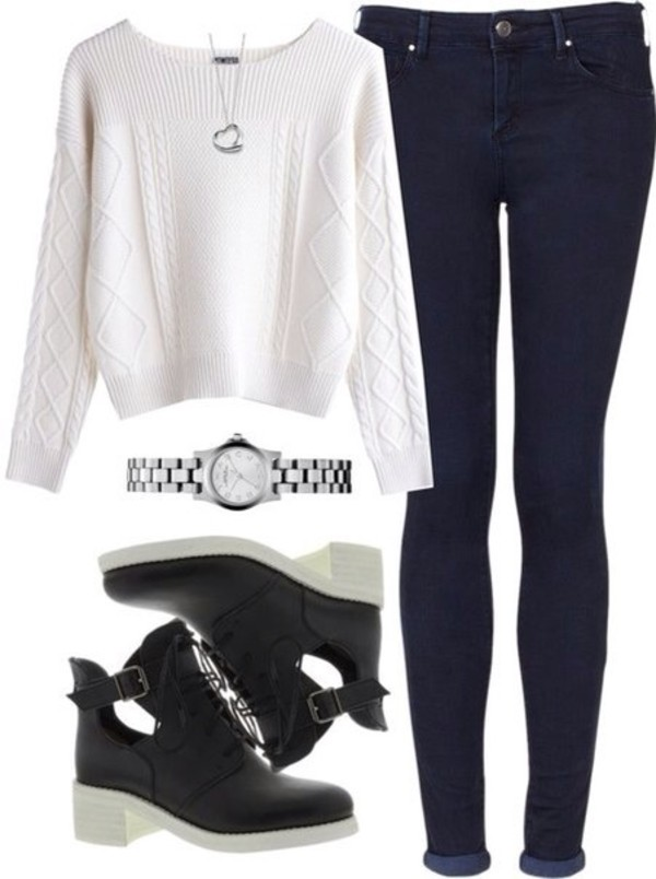 shoes black white sweater jeans