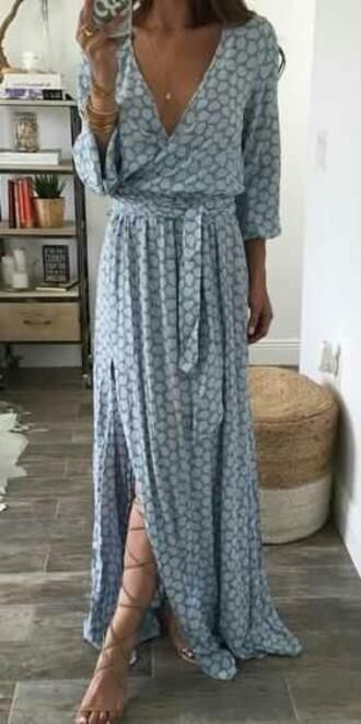 dress blue dress maxi dress cross over dress cotton