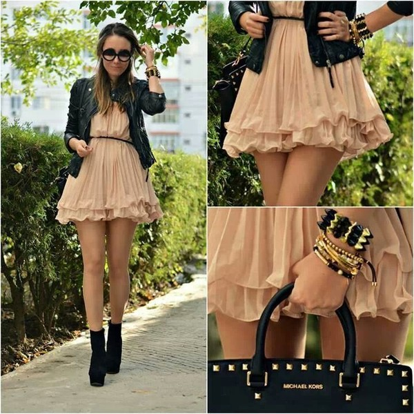 dress bag jewels brown girl fashion outfit clothes pretty shoes