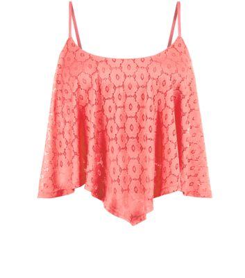 Pink Daisy Lace Hanky Hem Crop Top