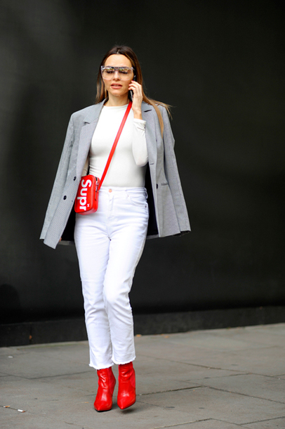 shoes tumblr red boots ankle boots denim jeans white jeans top white top blazer grey blazer bag supreme