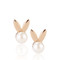 Rose gold pearl bunny earrings
