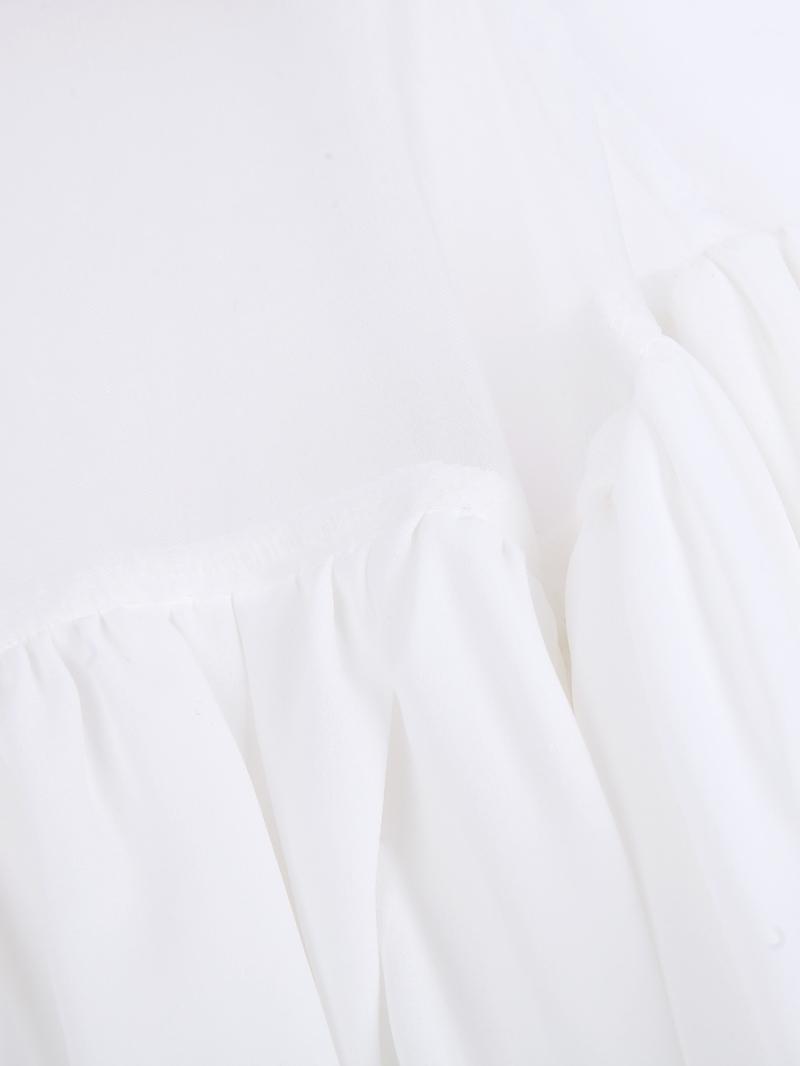 White Contrast Organza Cascading Ruffle Chiffon Blouse - Sheinside.com