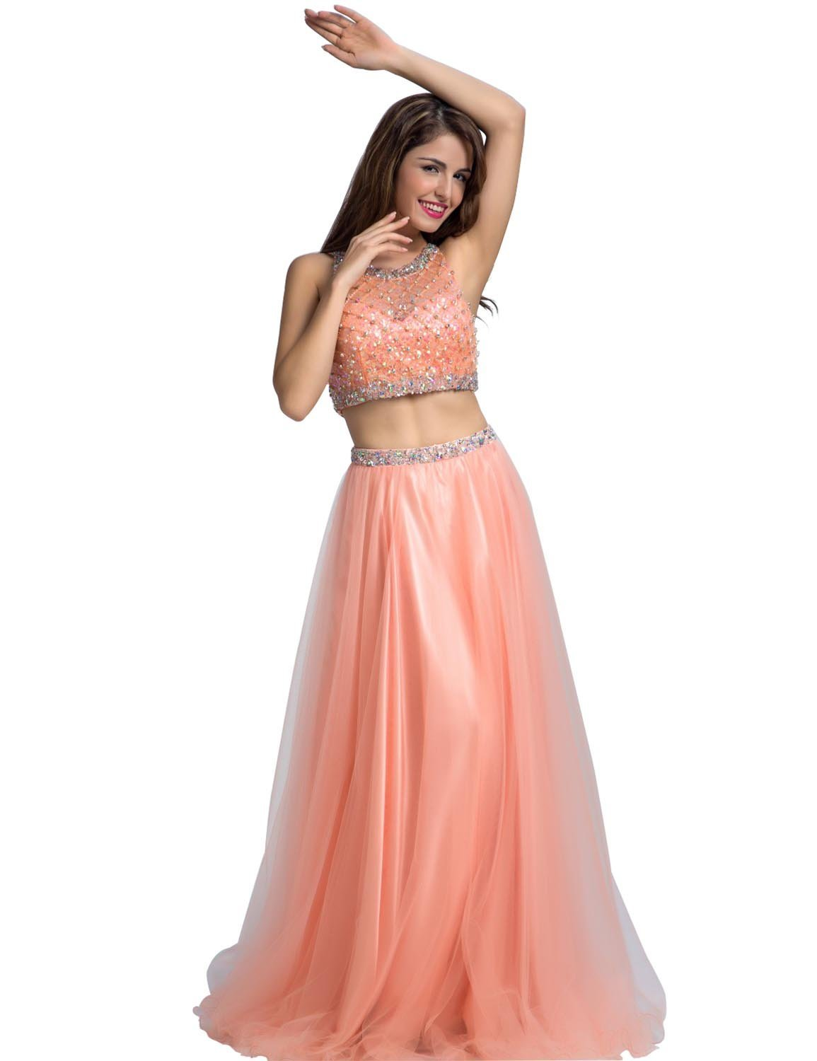 a5aad74d0e77 Clearbridal Women s Blush Tulle Prom Dress A-Line Two Piece Party ...