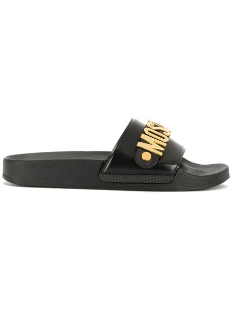 Moschino women pool sandals black shoes