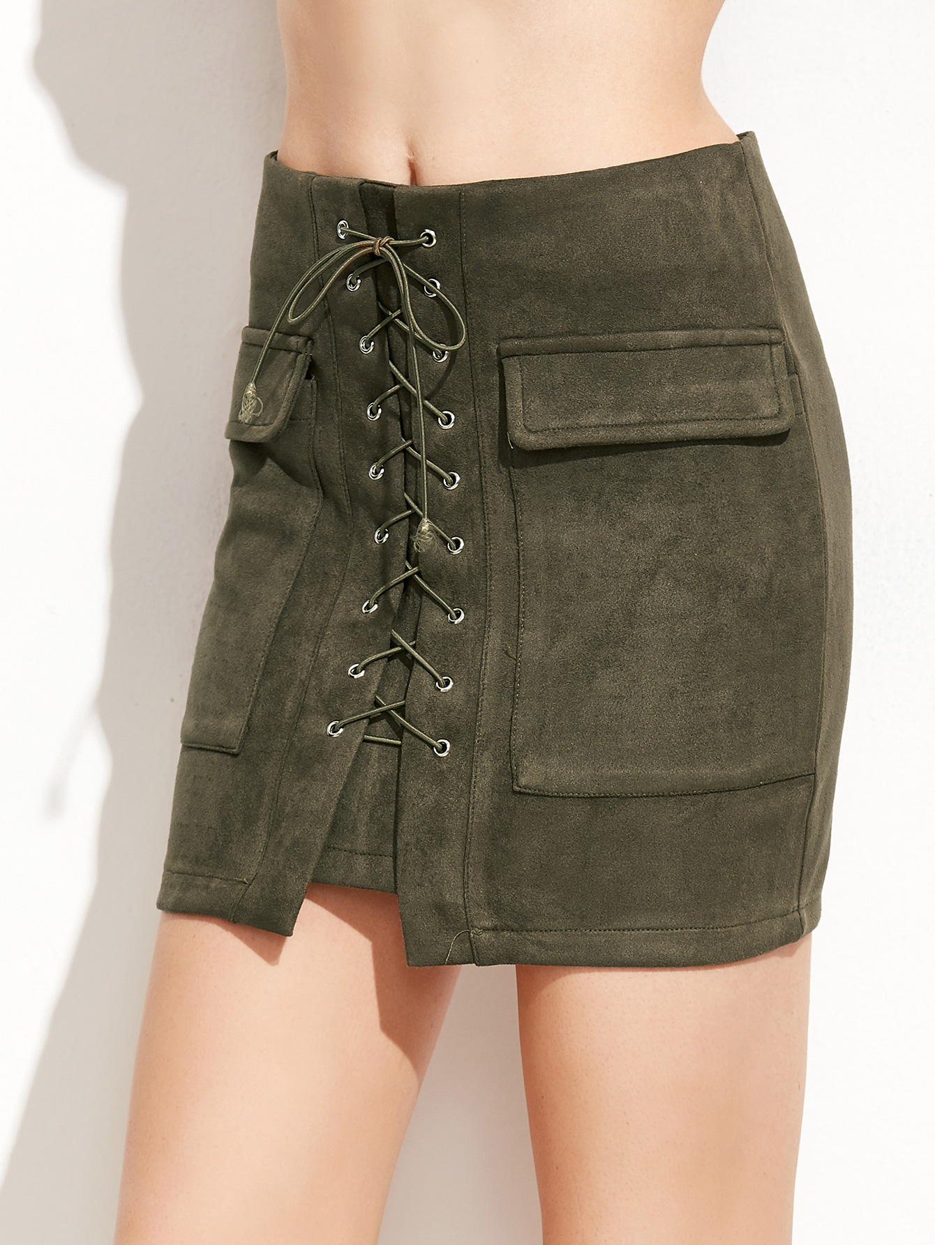 7231266a77 Army Green Suede Lace Up Pockets Bodycon Skirt