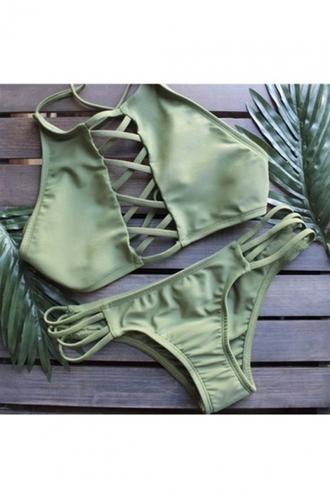 swimwear girl girly bikini bikini top bikini bottoms green strappy girly wishlist two-piece swimwear two piece