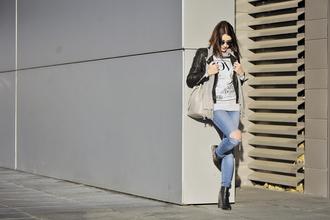 shiny sil blogger ripped jeans black jacket