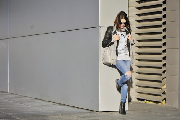 shiny sil blogger ripped jeans black jacket