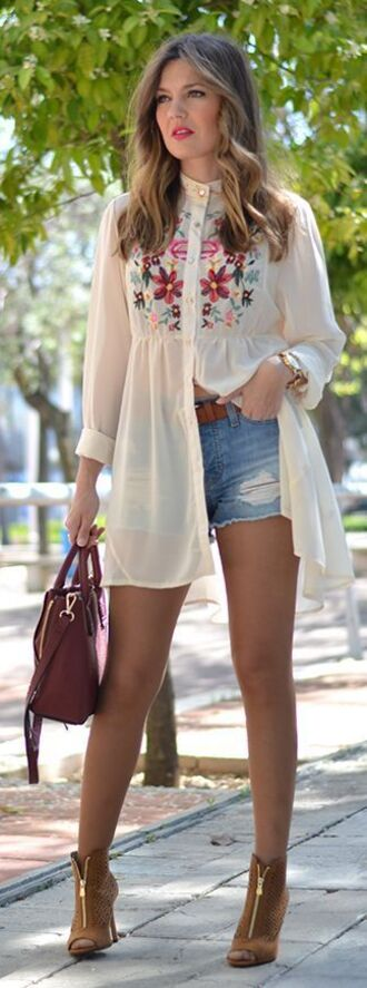 shirt embroidered shirt embroidered long shirt white shirt denim denim shorts shoes khaki shoes suede open toe booties bag blouse clothes top