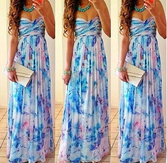 dress maxi floral flowers necklace mint blue clutch maxi dress long prom dress floral dress strapless dress gorgeous summer dress prom dress blue dress pink dress white dress white blue and purple beautiful floral strapless strapless maxi dress floral maxi dress white multicolor strapless purple dress baby baby blue baby clothing floral strapless maxi dress cute dress girly cute thing blue strapless maxi