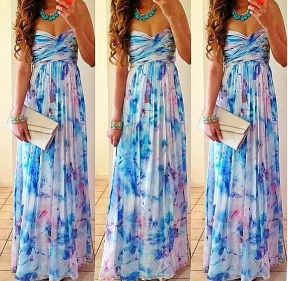 baby blue maxi dress want want want purple dress baby baby clothes dress floral prom dress blue dress strapless multicolor
