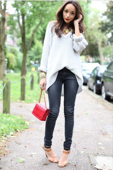 sweater grey sweater black fitted jeans