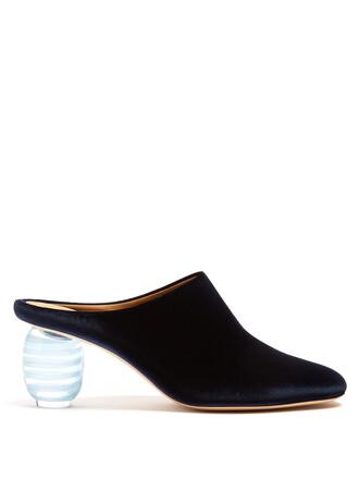 mules velvet navy shoes
