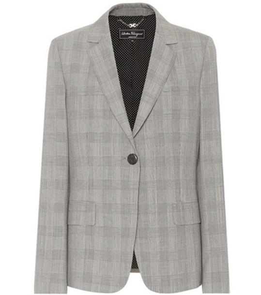 Salvatore Ferragamo Checked wool blazer in grey