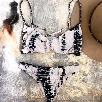 swimwear black and white boho tye dye bikini