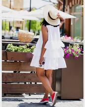 dress,sneakers,tumblr,ruffle,ruffle dress,mini dress,white dress,hat,sun hat,red sneakers,converse,red converse,shoes