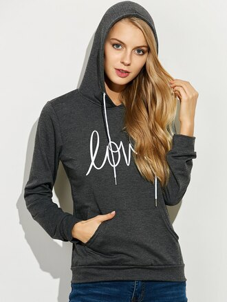 sweater hoodie casual grey long sleeves sporty cool fall outfits quote on it zaful