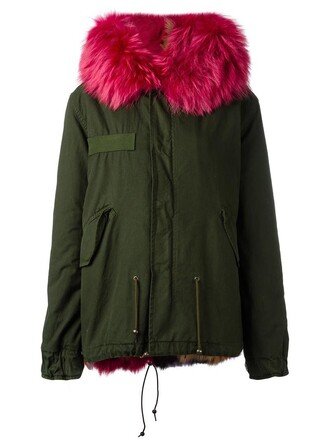 parka fur fox women fit cotton green coat