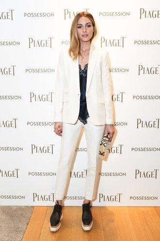 pants top blazer blogger olivia palermo clutch shoes bag
