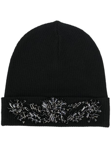 embellished hat beanie black