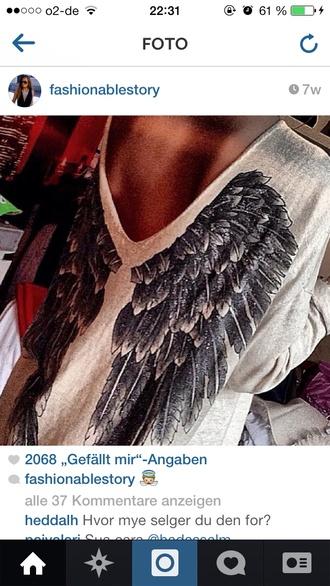 shirt angels wings beige black wings feathers