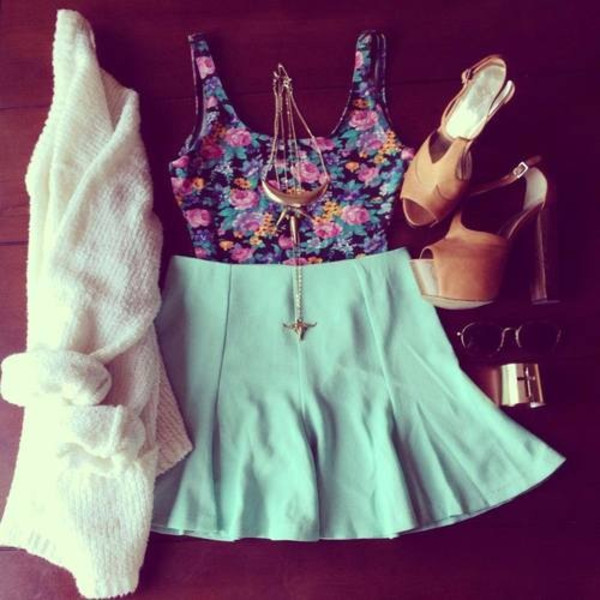 tank top skirt sweater sunglasses jewels top tank top