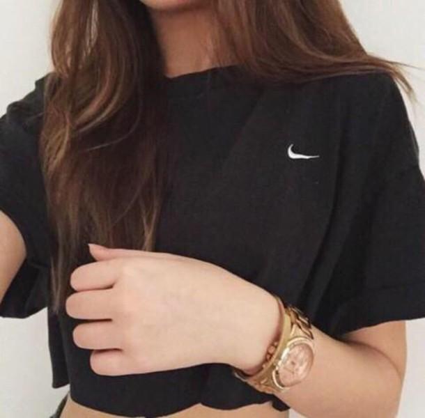 shirt nike t-shirt t-shirt black white women tshirts nike high tops crop fashion summer top girly grunge adidas really nice shirt