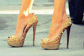 shoes,only way is essex,gold,studs,high heels,stilettos,glitter,cheryl cole style,sexy,essex,gold studs,louboutin gold high heel