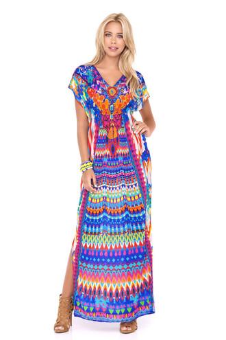 dress luli fama luxury patterned swimwear patterned dress cover up multicolor beach dress bikiniluxe