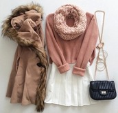 jacket,pink,warm,white skirt,black bag,sweater,coat,fashion,pink coat,cute clothing,skirt,cute,white,scarf,fur,dark brownish pink color,fur around the hoodie,buttons in the middle,and cozy