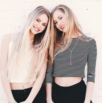 top strip crop tops black black jeans summer girly beautiful pretty fashion style necklace high waisted jeans clothes summer top shirt blonde hair jewels
