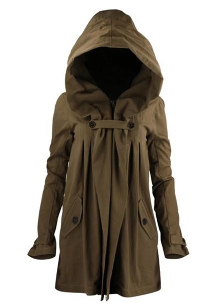 coat khaki hood hoodie coat jacket army green jacket green Khaki coat elvish legolas comic con character lotr jacket hoodie post apocalyptic brown