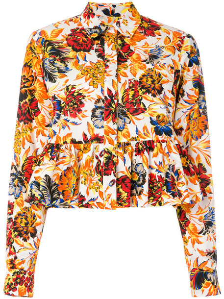 MSGM shirt peplum shirt women floral cotton top