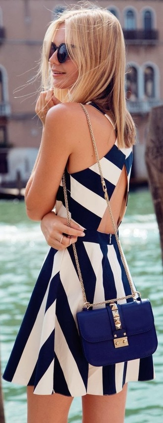 dress white striped dress stripes cut-out dress backless navy cut-out summer dress lovely preppy white dress backless dress
