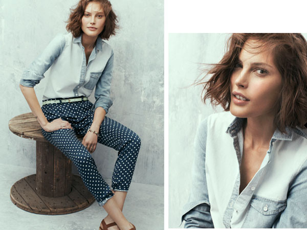 pants chic madewell polka dots denim shirt shirt polka dots capri pants