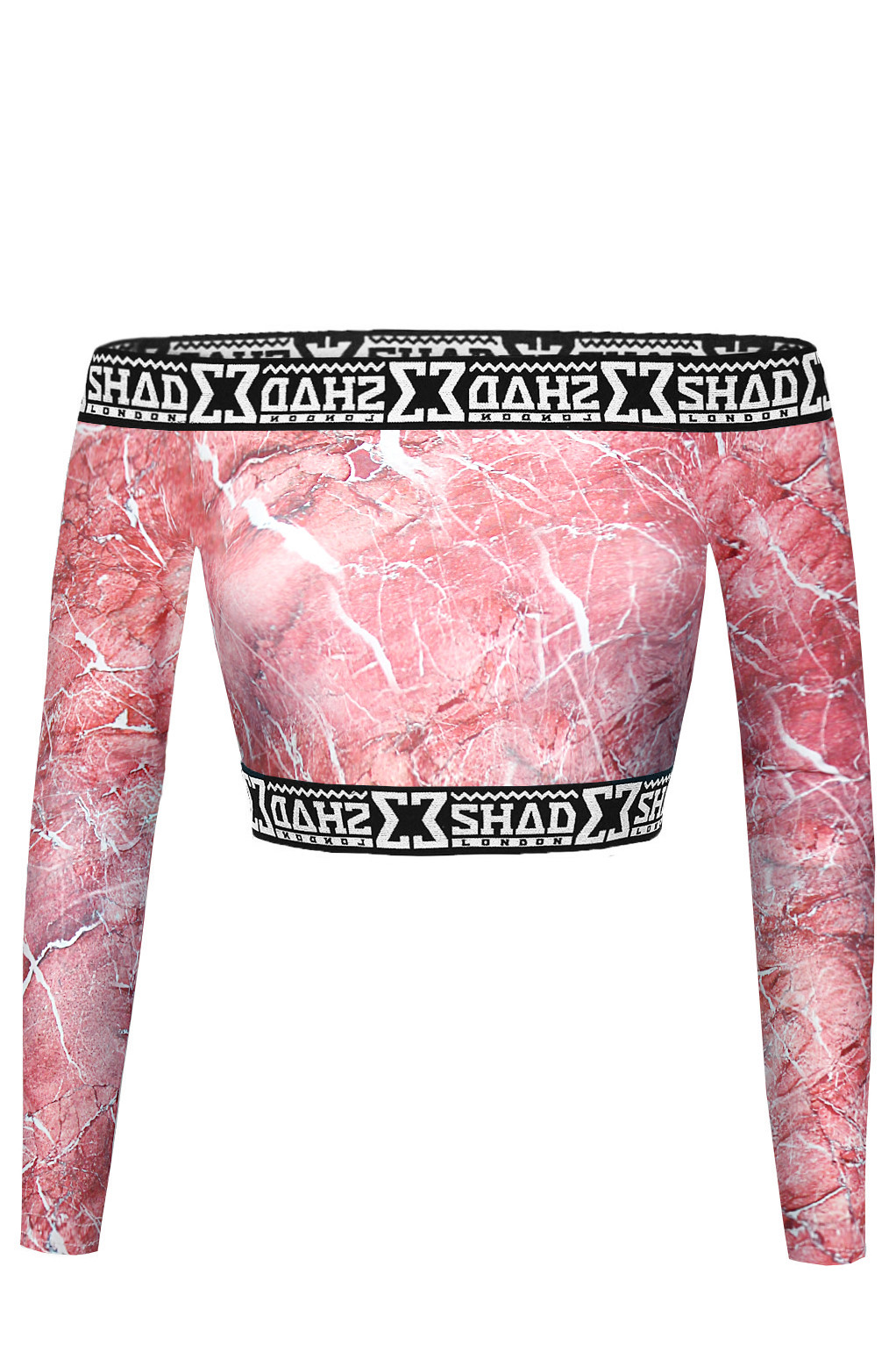 SHADE Off Shoulder Crop Top - Pink Marble ? SHADE London