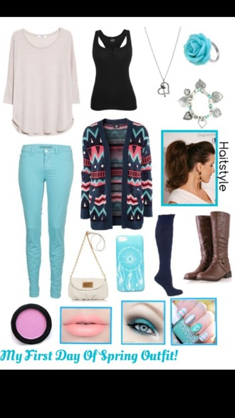 sweater jeans cardigan shoes make-up pajamas