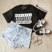 shirt,parental advisory explicit content,top,crop tops,black,outfit,vans,shorts,denim shorts