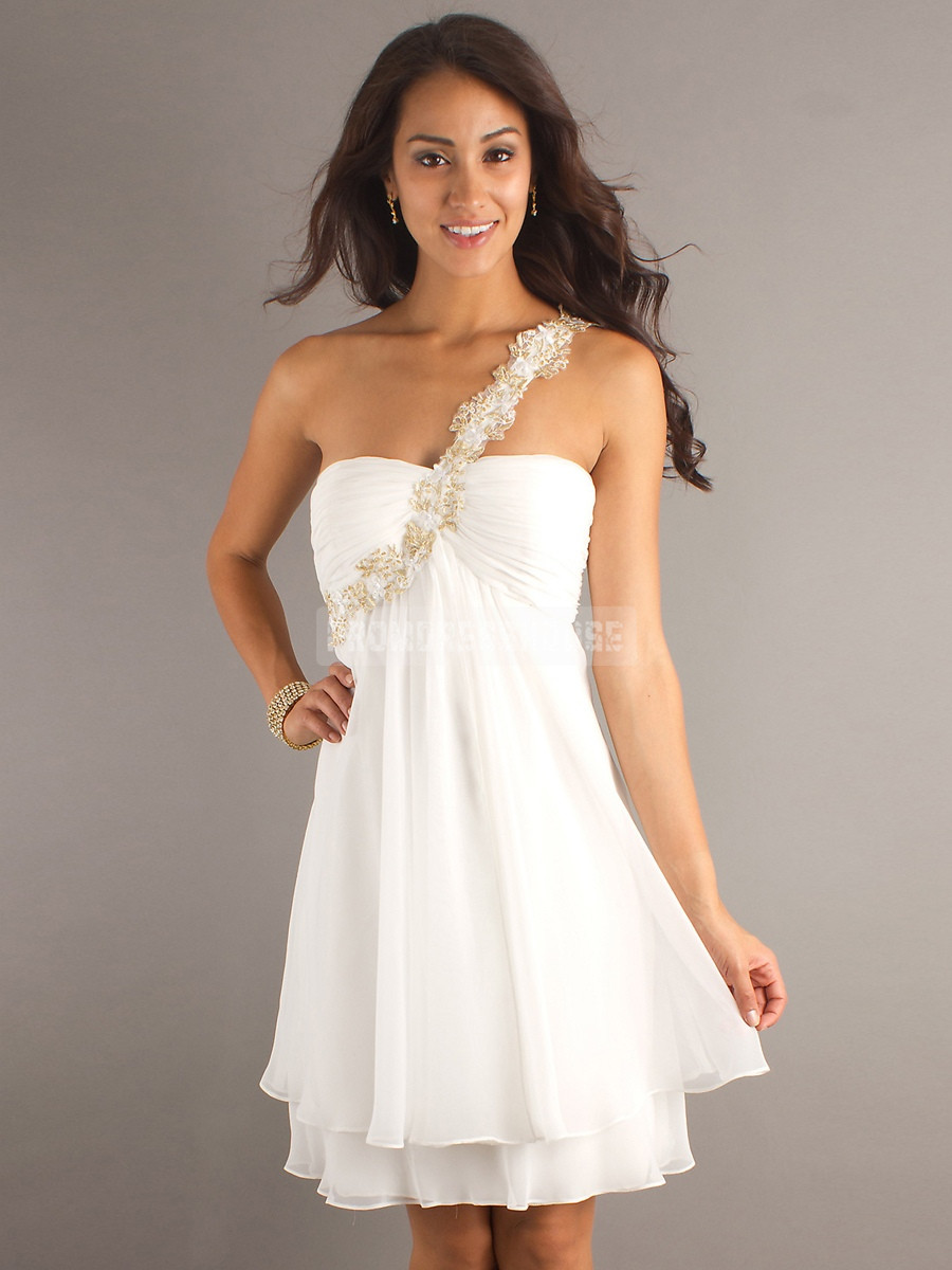 One Shoulder Empire Zipper White Chiffon Lace Prom Dress - Promdresshouse.com