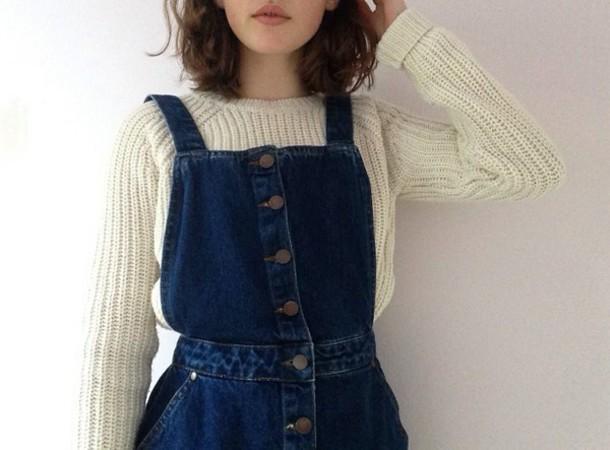 jumpsuit navy blue jumper sweater white baige cute