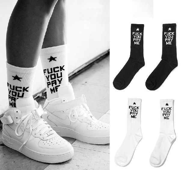 wholesale 2014 new woman fuck you pay me white long socks women's skateboard brand outdoors sport basketball sock football socks-in Socks from Apparel & Accessories on Aliexpress.com