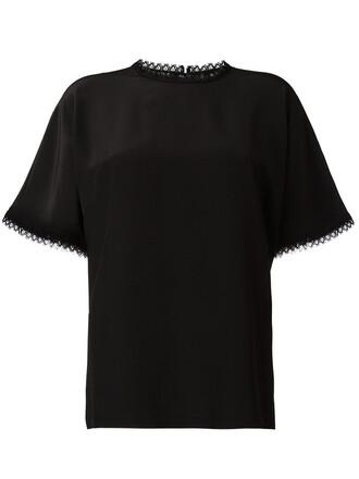 top women lace black silk