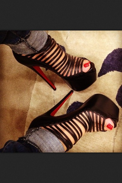 shoes louis heels black straps cross sumner high heels