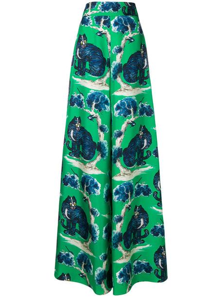 gucci women print silk green pants