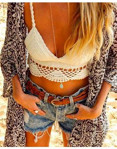 Crochet crop top summer hippie style kinitted short tank black white