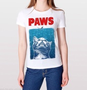 shirt,paws/jaws graphic tee