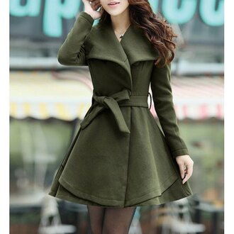 coat green army green warm cozy winter outfits winter coat cute korean fashion korean style asian skater dress style rose wholesale